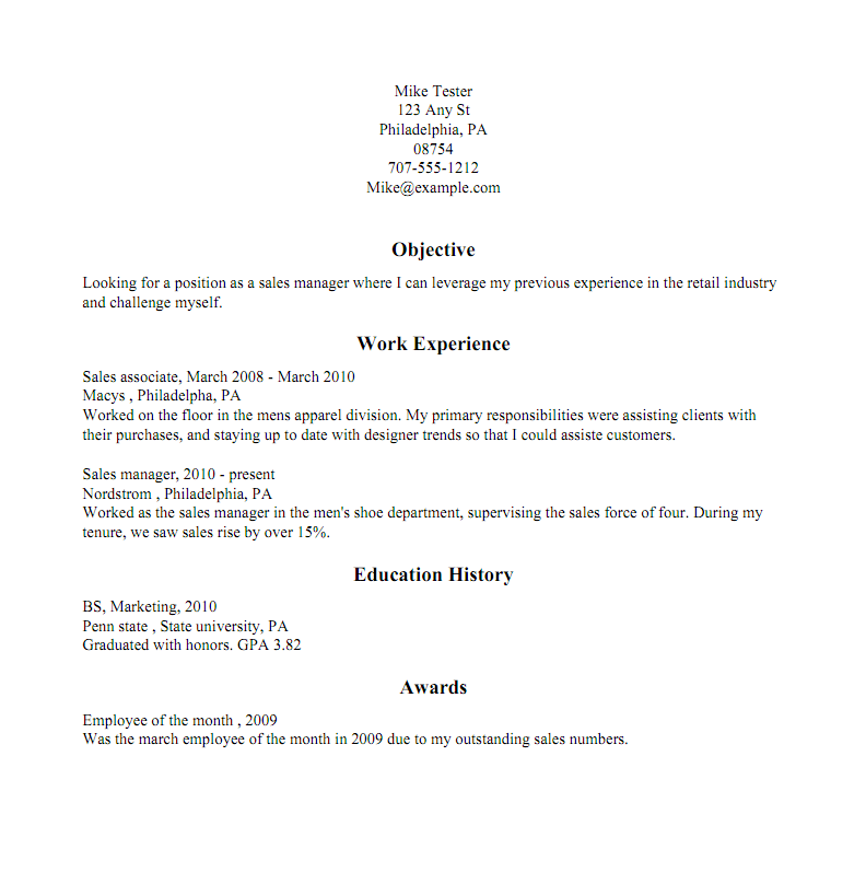 Traditional Resume Sample  Traditional Resume